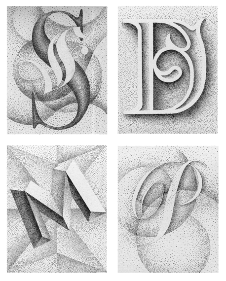 create a scratchboard drawing of a three letter on an active and dynamic background that show a range of values and a three dimensional letter