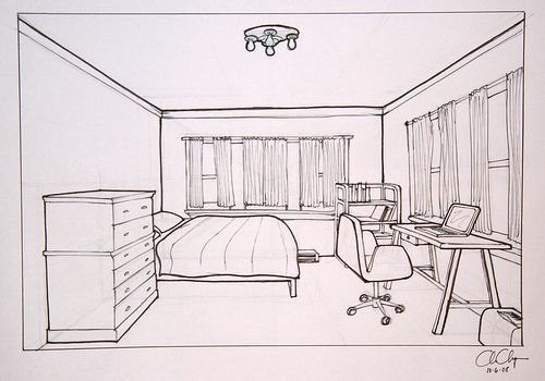 Homework One Point Perspective Room Drawing Ms Chang 39 S